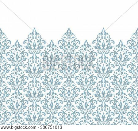 Wallpaper In The Style Of Baroque. Modern Vector Background. White And Blue Floral Ornament. Graphic