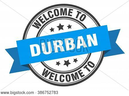 Durban Stamp. Welcome To Durban Blue Sign