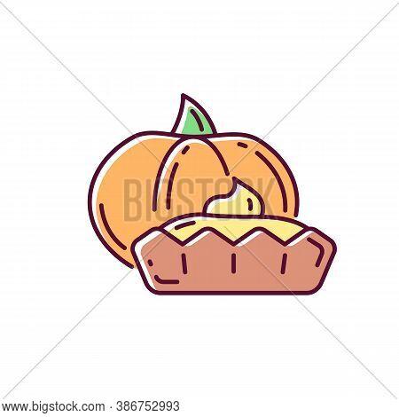 Pumpkin Tartlet Rgb Color Icon. Delicious Gourd Tart, Sweet Pie. Seasonal Bakery Menu. Homemade Baki