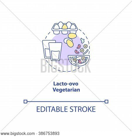 Lacto Ovo Vegetarian Concept Icon. Vegetarian Eating Plan. Healthy Foods. Types Of Vegetarian Diets