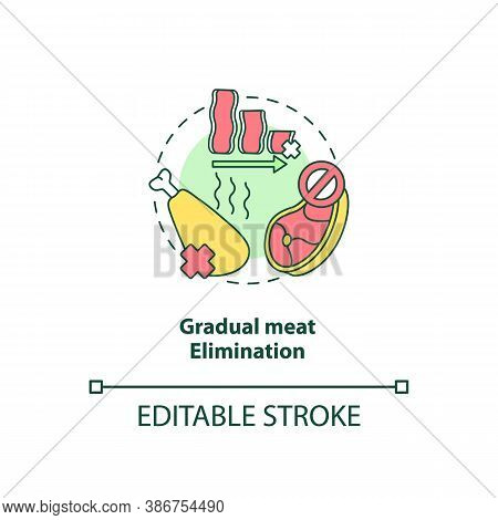 Gradual Meat Elimination Concept Icon. No Meat In Eating Plan. Healthy Meals. Becoming A Vegetarian