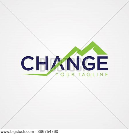 Change Letter Symbol For Element Design. Flat Design Letter Change With Abstract Mountain Stair. Vec