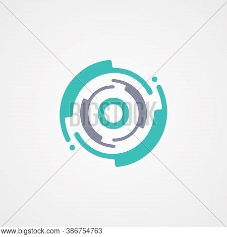 Modern Circle Tech Symbol Design Template. Flat Design Letter O For Your Best Business Symbol. Vecto