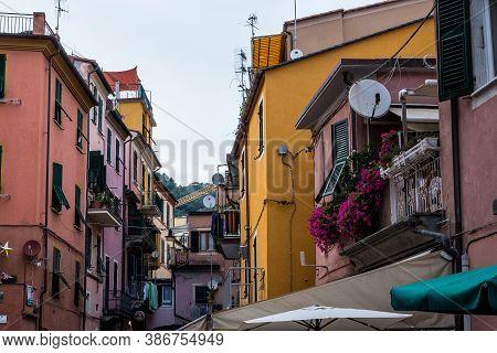 Monterosso Al Mare, Italy - July 8, 2017: View Of Traditional Colorful Buildings In Monterosso Al Ma