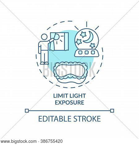Limit Light Exposure Turquoise Concept Icon. Avoid Sunlight Before Bedtime. Nighttime Routine. Sleep