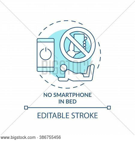 No Smartphone In Bed Turquoise Concept Icon. Avoid Phone Using. Nighttime Routine. Sleep Regulation