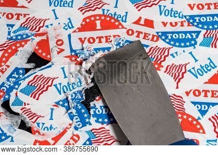 Concept For The End Of The Election In The Usa With Torn And Scratched Campaign Buttons Being Remove