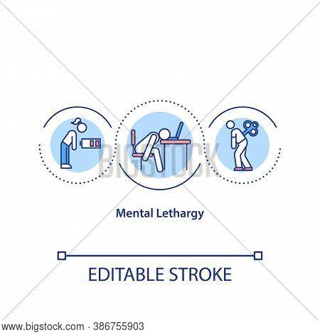 Mental Lethargy Concept Icon. Chronic Insomnia, Sleeplessness Idea Thin Line Illustration. Depressio