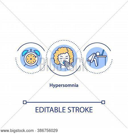 Hypersomnia Concept Icon. Sleep Disorder, Narcolepsy Idea Thin Line Illustration. Chronic Weariness