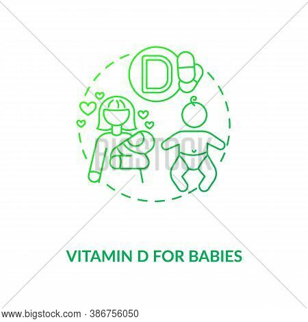 Vitamin D For Babies Concept Icon. Needed Supplement Idea Thin Line Illustration. Rickets Risk. Dail