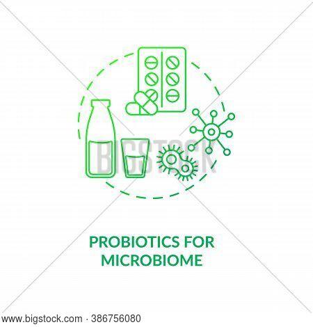 Probiotics For Microbiome Concept Icon. Needed Supplement Idea Thin Line Illustration. Disease-causi