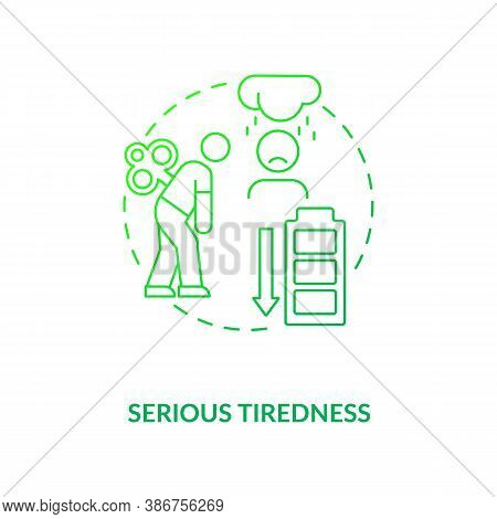 Serious Tiredness Concept Icon. Vitamin Shortages Symptom Idea Thin Line Illustration. Healthy Diet.