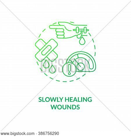 Slowly Healing Wounds Concept Icon. Vitamin Shortages Symptom Idea Thin Line Illustration. Nutrition