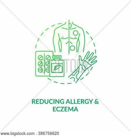 Reducing Allergy And Eczema Concept Icon. Probiotics Health Benefits Idea Thin Line Illustration. An