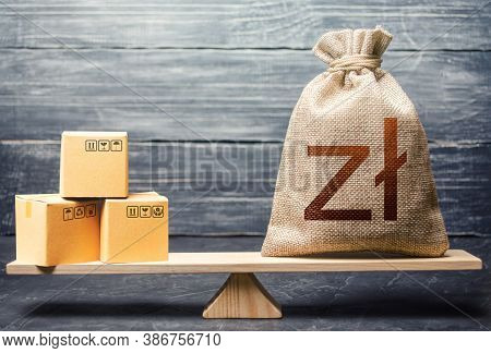 Polish Zloty Money Bag And Boxes. Market Price Regulation. Trade Balance, Buying And Selling Goods.