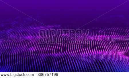 Abstract Gradient Dynamic Wave Of Glowing Lines. Network Of Neon Lines. Big Data. Digital Background