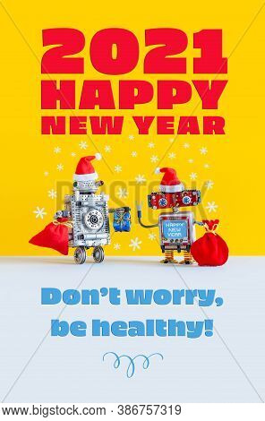 2021 Happy New Year Festive Robotics Congratulation Poster. Funny Kind Robots Santa Claus Noel Dress