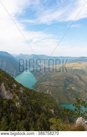 Tara National Park, Serbia. Viewpoint Banjska Stena. View At Drina River Canyon And Lake Perucac