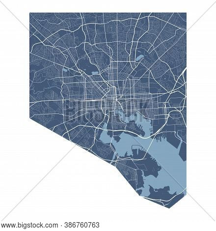 Baltimore Map. Detailed Vector Map Of Baltimore City Administrative Area. Cityscape Poster Metropoli