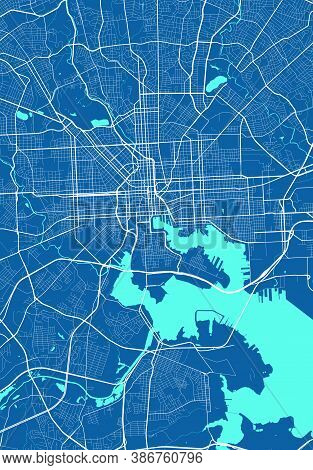 Vector Map Of Baltimore. Street Map Poster Illustration. Baltimore Map Art.
