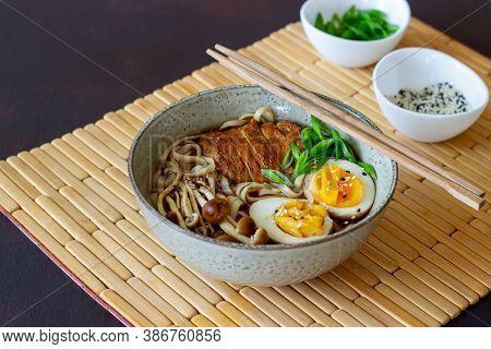 Ramen Soup With Noodles, Pork, Mushrooms And Eggs. Japanese Cuisine. Recipe.
