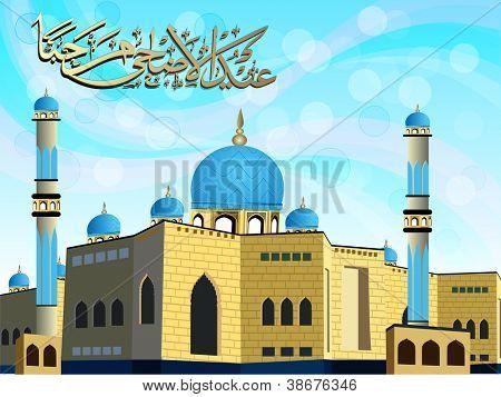 Eid-Ul-Azha Marhaba or Eid-Ul-Adha Marhaba, Arabic Islamic calligraphy for Muslim community festival. EPS 10. poster