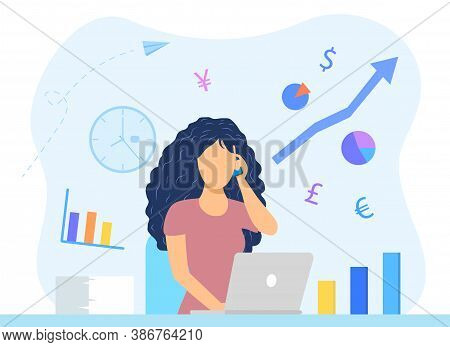 Financial Advice Or Financial Consulting Concept With Young Woman Standing Behind An Open Laptop And