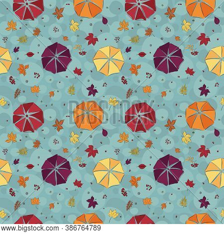 Autumnal Seamless Pattern With Umbrellas And Leaves And Berries. Maple, Chestnut, Mountain Ash, Vibu