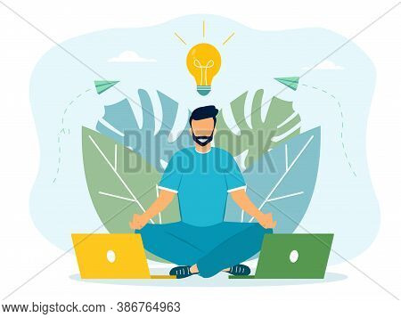 Meditation Workflow Concept, With Meditating Man. Health Benefits For Body, Mind And Emotions, Lotus