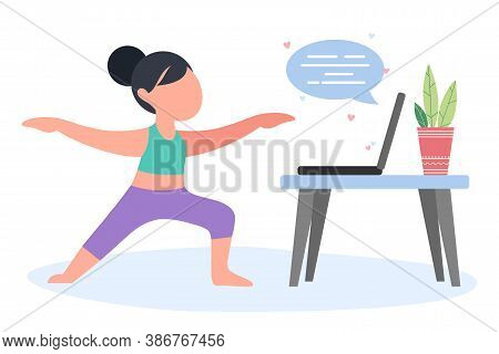 Girl Or Woman Doing Yoga At Home Online. Health Exercises, Posture, Relaxation, Meditation, Concentr