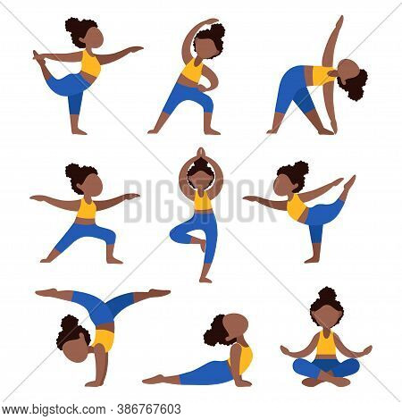 Set Of Flat Black Girls Doing Yoga. Bundle Of African American Women In Different Poses. Exercises F