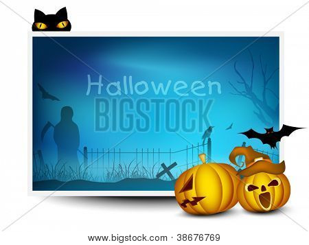 Halloween banner with scary pumpkins, black cat and flying bats. EPS 10. poster