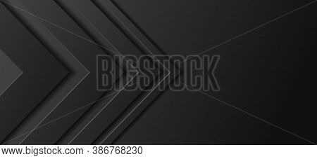 Black Arrowhead Abstract Background. Right Angle Frame, Gradient Of Light Tones To Dark Colors. Temp