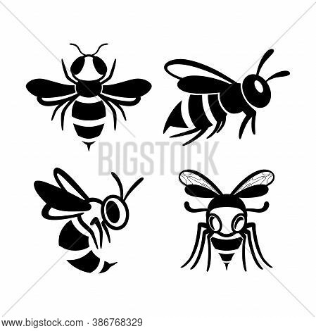 Set Of Flat Line Wasp Icons. Bundle Of Black Insects Silhouettes Isolated On A White Background. Gra
