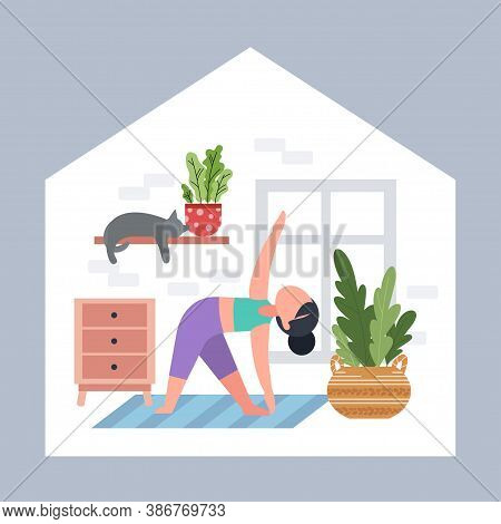 Girl Or Woman Doing Yoga At Home. Exercises For Health, Posture, Relaxation, Meditation, Concentrati