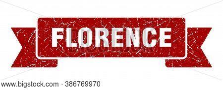 Florence Ribbon. Red Florence Grunge Band Sign