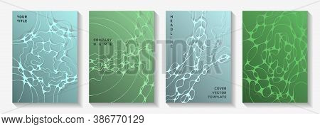 Biotechnology And Neuroscience Vector Covers With Neuron Cells Structure. Dynamic Waves Network Back