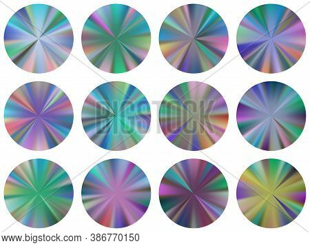 Circular Metallic Gradient Ux Button Elements Vector Set. Isolated Cool Medal Shapes. Button Metal S