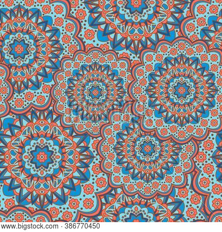Persian Medallion Flower Seamless Ornament Vector Graphic Design. Pattern Template For Fabric. Cute