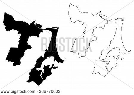 Durban City (republic Of South Africa, Rsa, Kwazulu-natal Province) Map Vector Illustration, Scribbl