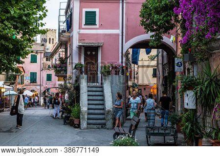 Monterosso Al Mare, Italy - July 8, 2017: People Walking In Monterosso Al Mare Old Town