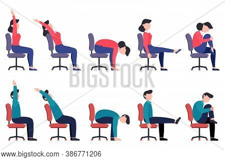 Set Of Women And Men Doing Office Chair Exercises. Bundle Of Workers Workout For Healthy Back, Neck,