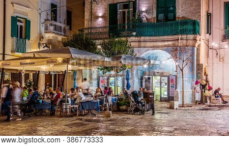 Street Night View Of Monopoli Old Town, Apulia, Italy