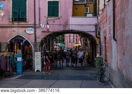 Monterosso Al Mare, Italy - July 8, 2017: Tourists Walking In Monterosso Al Mare Old Town