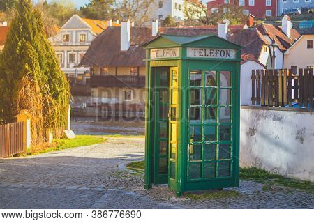 Phone Booth - Green Telephone Booth In The Old Town Near The River, Cesky Krumlov, Czech Republic