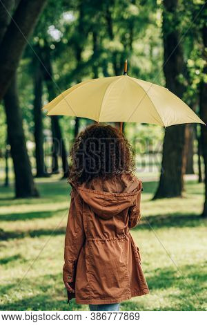 Back View Of Woman In Raincoat Holding Yellow Umbrella In Park