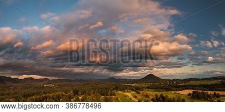 Autumn Landscape At Sunset, View Of Ruzovsky Vrch - Rosenberg Hill, Bohemian Switzerland National Pa