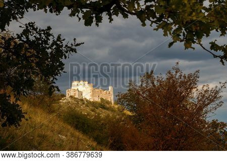 The Huge Ruins Of Devicky Castle On Palava Hills, Huge Ruins Of Devicky Castle On Palava Hills, Czec