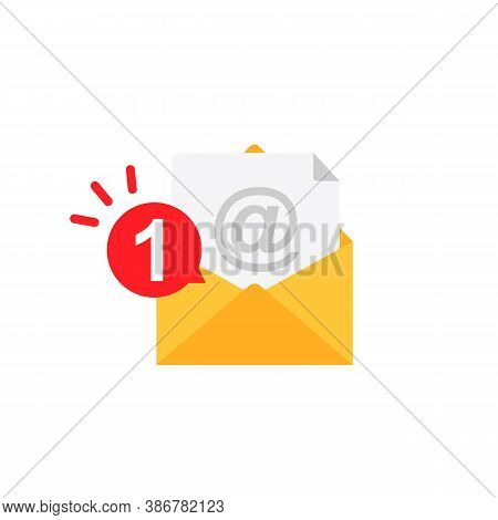 Message Notification Vector Icon. Envelope With Notification. Vector Eps10