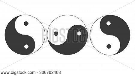 Yin Yang Symbols Set Isolated. Harmony Vector Icons Collection